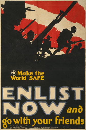 World War One Enlistment Poster - Enlist Now and Go with your Friends